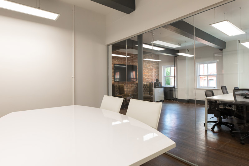 Meeting room with glass front